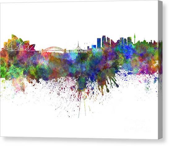 Sydney Skyline Canvas Print - Sydney Skyline In Watercolor On White Background by Pablo Romero