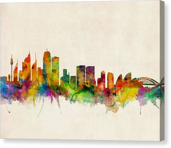 Australian Canvas Print - Sydney Skyline by Michael Tompsett