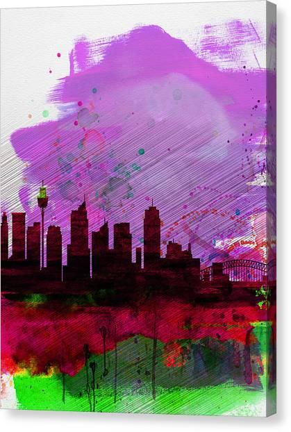 Sydney Skyline Canvas Print - Sydney Watercolor Skyline 2 by Naxart Studio