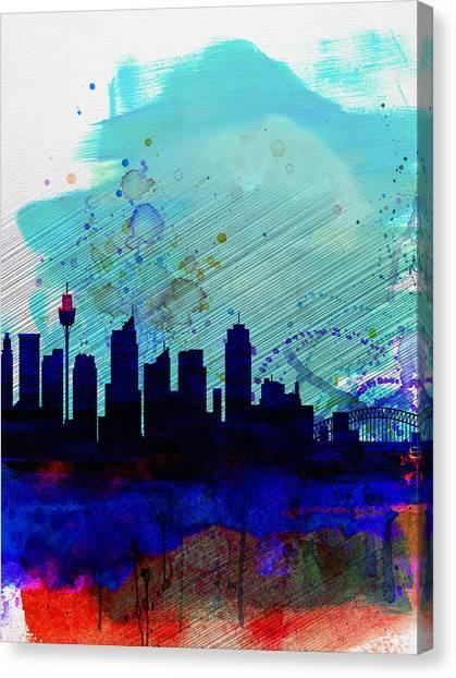 Sydney Skyline Canvas Print - Sydney Watercolor Skyline by Naxart Studio
