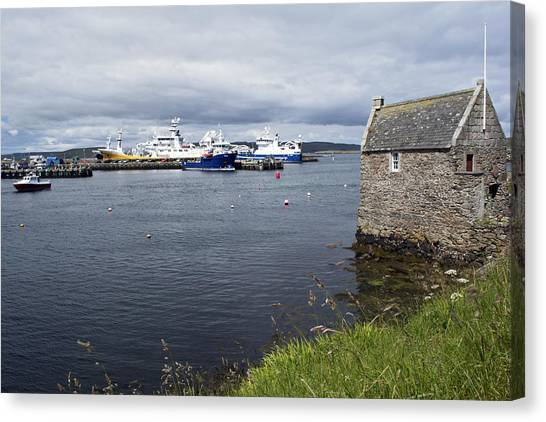 Symbister Harbour Canvas Print by Steve Watson