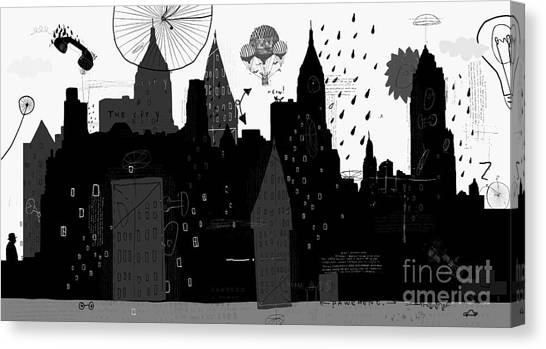 Sun Canvas Print - Symbolic Image Of A Megacity With A by Dmitriip