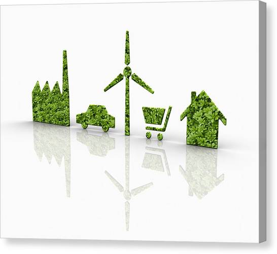Symbols Of A Sustainable Lifestyle Canvas Print by Jorg Greuel