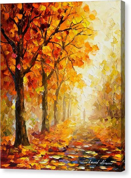 Autumn Leaves Canvas Print - Symbols Of Autumn - Palette Knife Oil Painting On Canvas By Leonid Afremov by Leonid Afremov