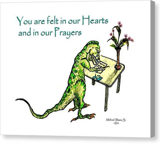 Sympathy Dinosaur Heart Felt Canvas Print