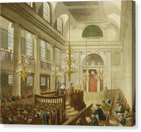 Sunderland Canvas Print - Synagogue At Dukes Place In Houndsditch by Pugin And Rowlandson