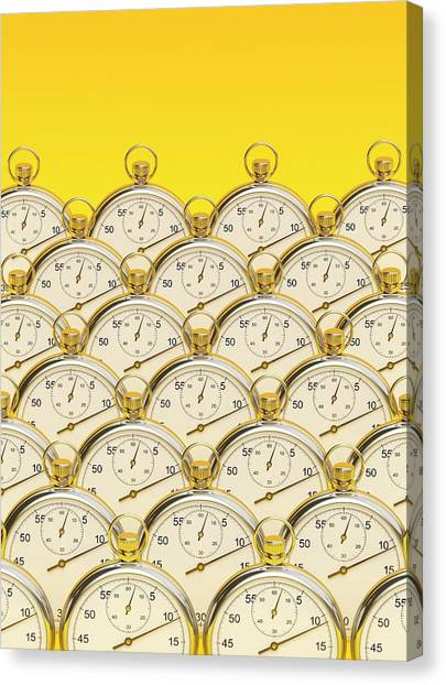 Synchronised Stopwatches Canvas Print by David Parker