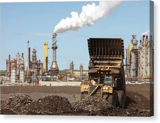 Dump Trucks Canvas Print - Syncrude Upgrader Plant by Ashley Cooper