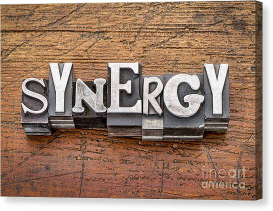 Synergy Word In Metal Type Canvas Print