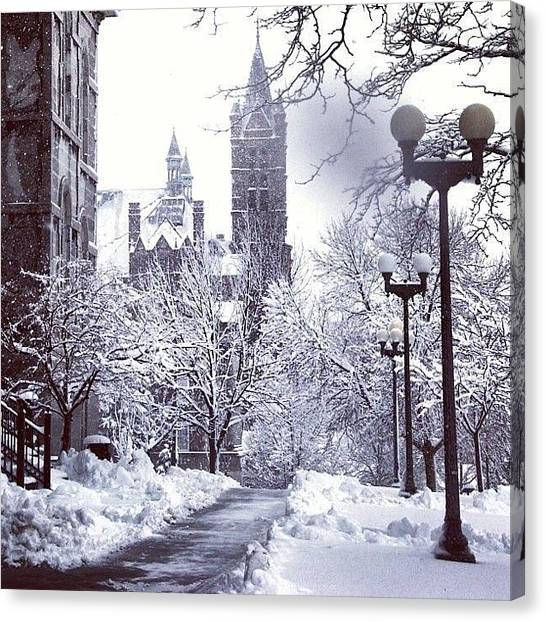 Syracuse University Canvas Print - Syracuse _new York_winter 2013 by Mehdi Mejri