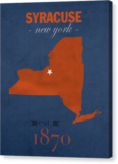 New York University Canvas Print - Syracuse University New York Orange College Town State Map Poster Series No 102 by Design Turnpike
