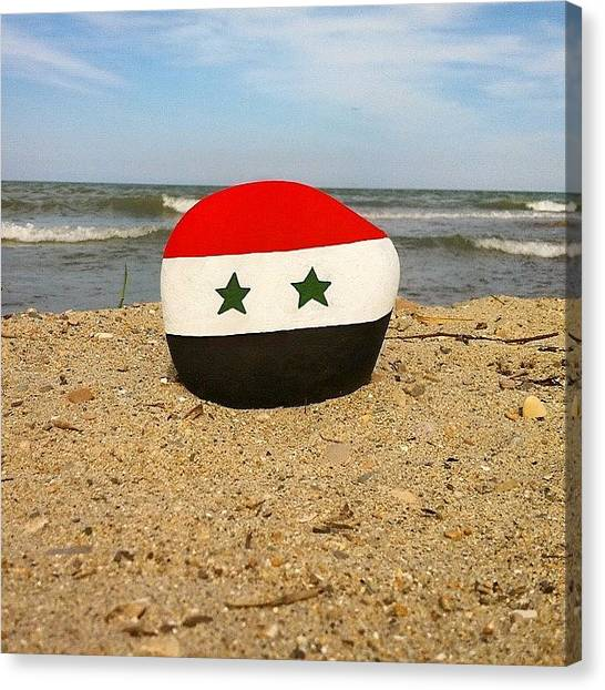 Syrian Canvas Print - Syrian Flag On A Stone With Beach by Adriano La Naia