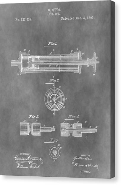 Health Insurance Canvas Print - Syringe Patent Design by Dan Sproul