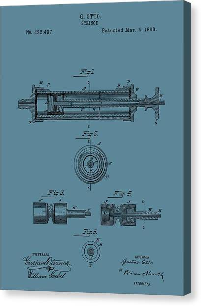 Health Insurance Canvas Print - Syringe Patent Drawing Blue by Dan Sproul