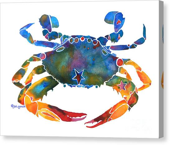 Canvas Print featuring the painting Color Me Crab E  by Jo Lynch