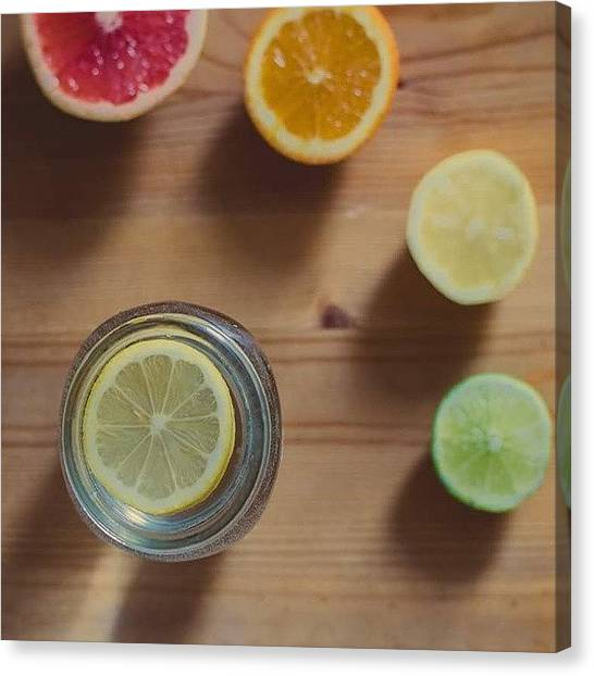 Grapefruits Canvas Print - ・t R O P I C A L・ #summer #fruits by Isabelle Gadbois