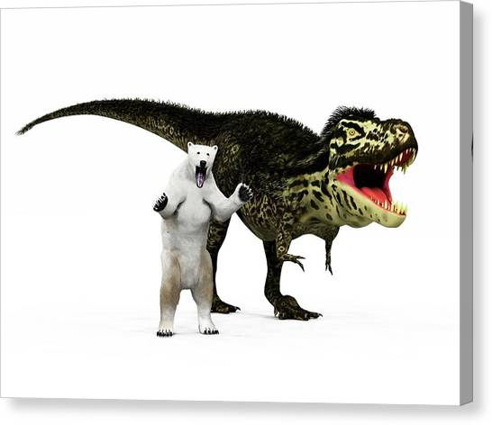 Tyrannosaurus Canvas Print - T-rex Dinosaur And Polar Bear by Walter Myers