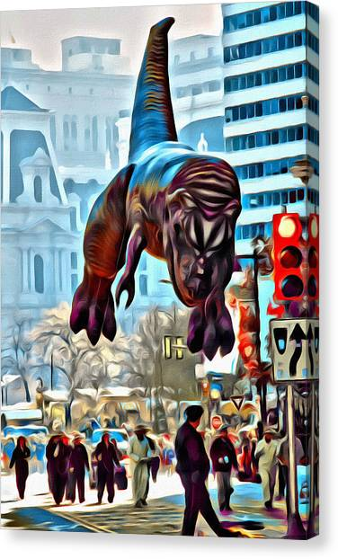 Macys Parade Canvas Print - T Rex In Philly by Alice Gipson