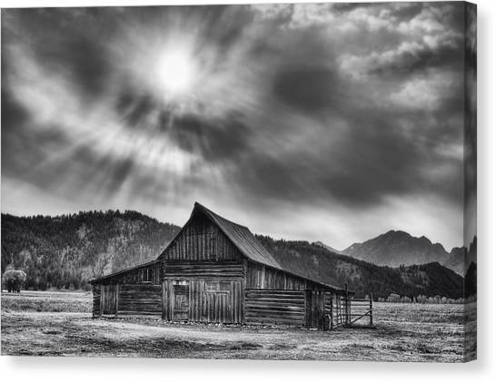 Teton Canvas Print - T.a. Moulton Barn - Black And White by Mark Kiver