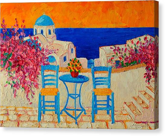 Table For Two In Santorini Greece Canvas Print