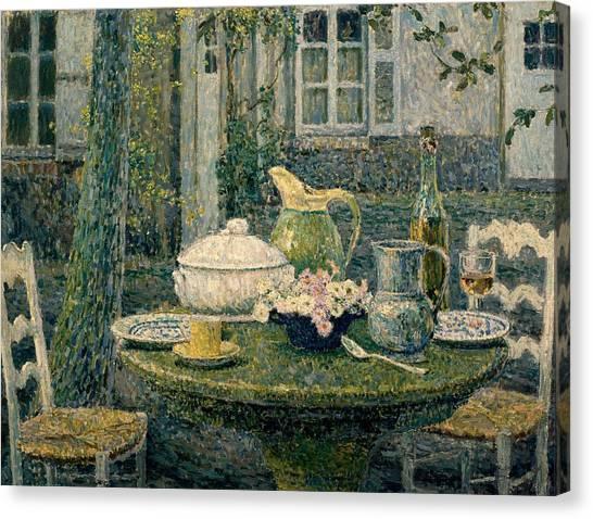 Tea Set Canvas Print - Table Laden For Spring by Henry Eugene Le Sidaner