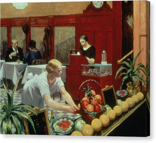 Flooring Canvas Print - Tables For Ladies by Edward Hopper