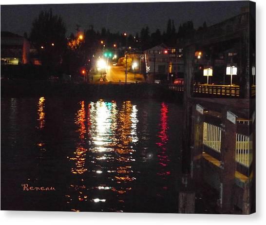 Tacoma Waterfront At Night On Ruston Way Canvas Print