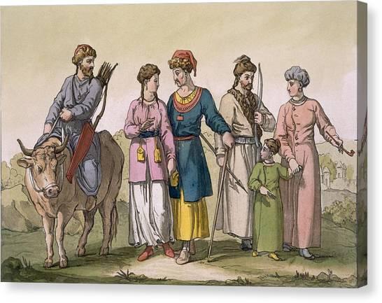 Bull Riding Canvas Print - Taguri Tatars Of The Crimea by D.K. Bonatti