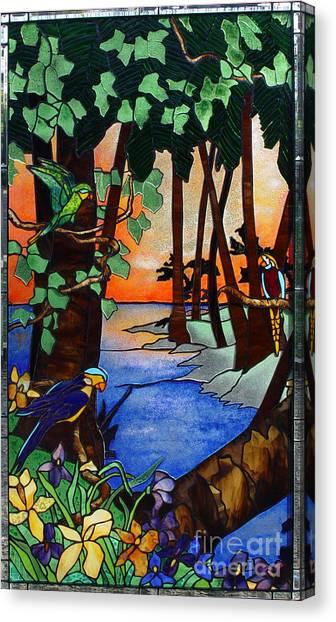 Tropical Stain Glass Canvas Print - Tahiti Window by Peter Piatt