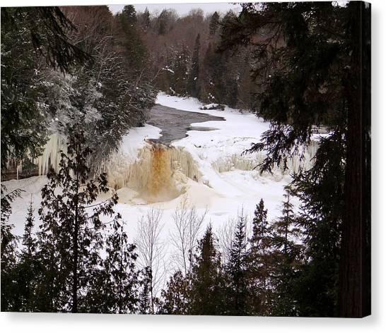 Tahquamenon Falls In Winter Canvas Print
