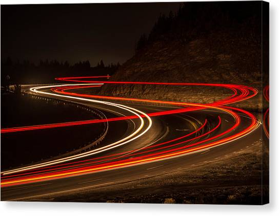 Tail Light Trails Canvas Print by Joe Hudspeth