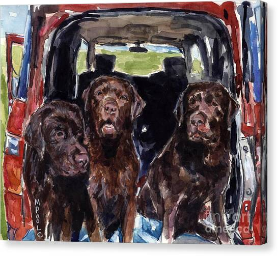 Chocolate Labrador Retriever Canvas Print - Tailgaters by Molly Poole