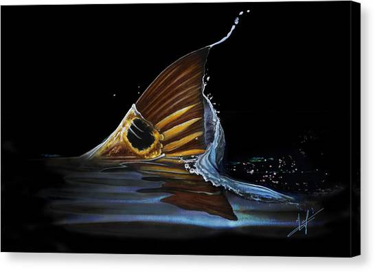Fly Fishing Canvas Print - Tailing Redfish by Nick Laferriere