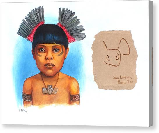 Taino Boy Canvas Print by Alejandra Baiz