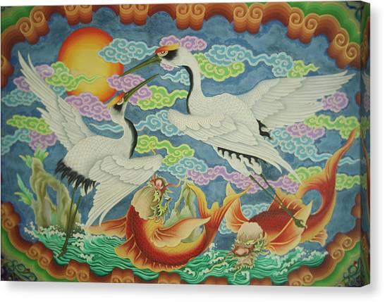 Catfish Canvas Print - Taiwan, Peimen, Nankunshen Temple by Jaynes Gallery