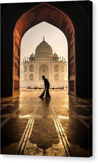Old Man Canvas Print - Taj Mahal Cleaner by Pavol Stranak