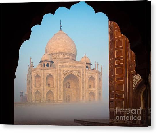 World Heritage Canvas Print - Taj Mahal Dawn by Inge Johnsson