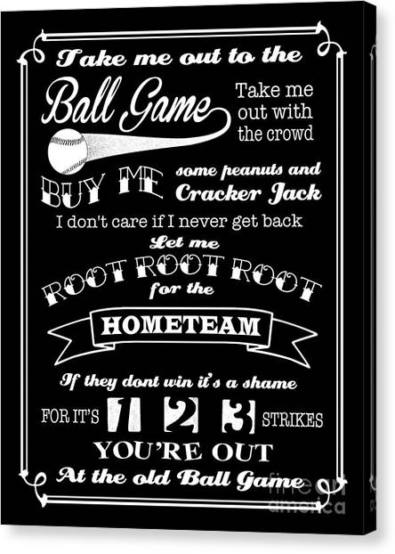Take Me Out To The Ball Game - Black Background Canvas Print
