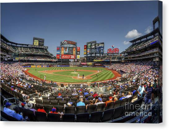 New York Mets Canvas Print - Take Me Out To The Ballgame by Evelina Kremsdorf