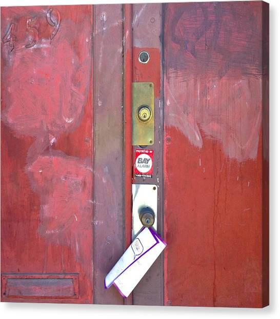 Red Canvas Print - Take-out Menu by Julie Gebhardt