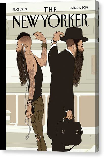 Judaism Canvas Print - Take The L Train by Tomer Hanuka