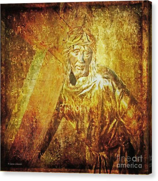Takes Up The Cross  Via Dolorosa 2 Canvas Print