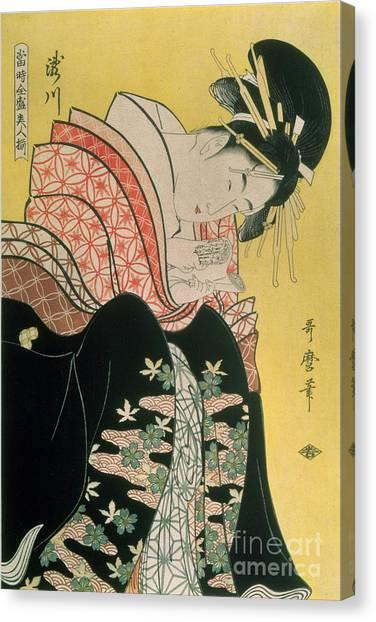 Hairstyle Canvas Print - Takigawa From The Tea House Ogi by Kitagawa Otamaro