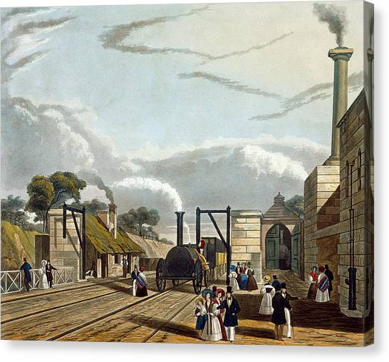 Train Canvas Print - Taking In Water At Parkside, Plate 13 by Thomas Talbot Bury