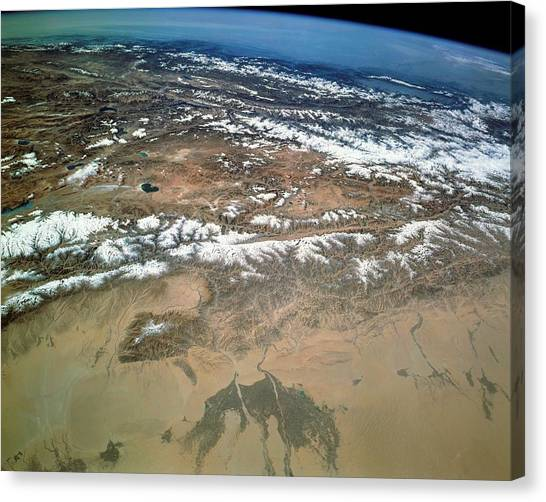 Chin Canvas Print - Taklamakan Desert And Tibetan Plateau by Nasa/science Photo Library