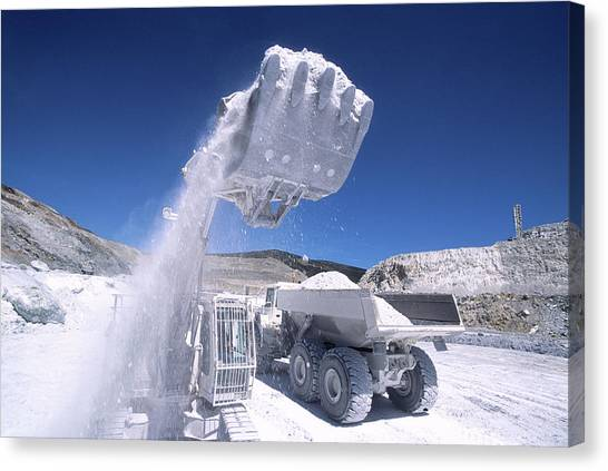 Excavators Canvas Print - Talc Quarrying Machines by Philippe Psaila/science Photo Library