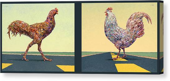 Chickens Canvas Print - Tale Of Two Chickens by James W Johnson