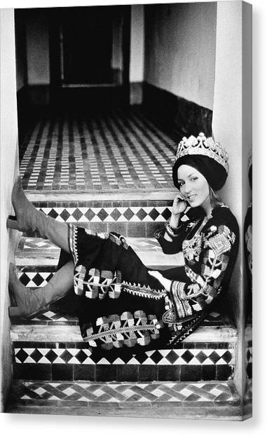 Talitha Getty Wearing A Berber Wedding Dress Canvas Print by Maurice Hogenboom