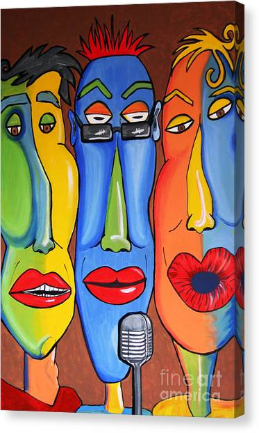 Canvas Print featuring the painting Talking Heads by Vickie Scarlett-Fisher