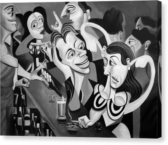 Cubism Canvas Print - Talking Sweet Nothings At The Bar by Anthony Falbo